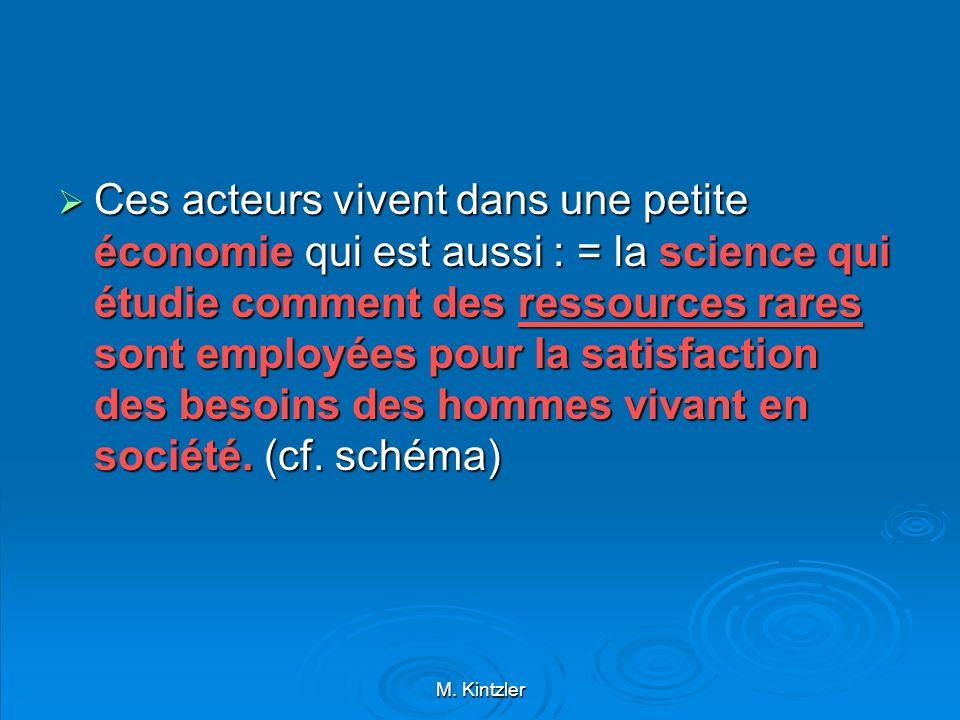 M. Kintzler Ces acteurs vivent dans une petite économie qui est aussi : = la science qui étudie comment des ressources rares sont employées pour la sa