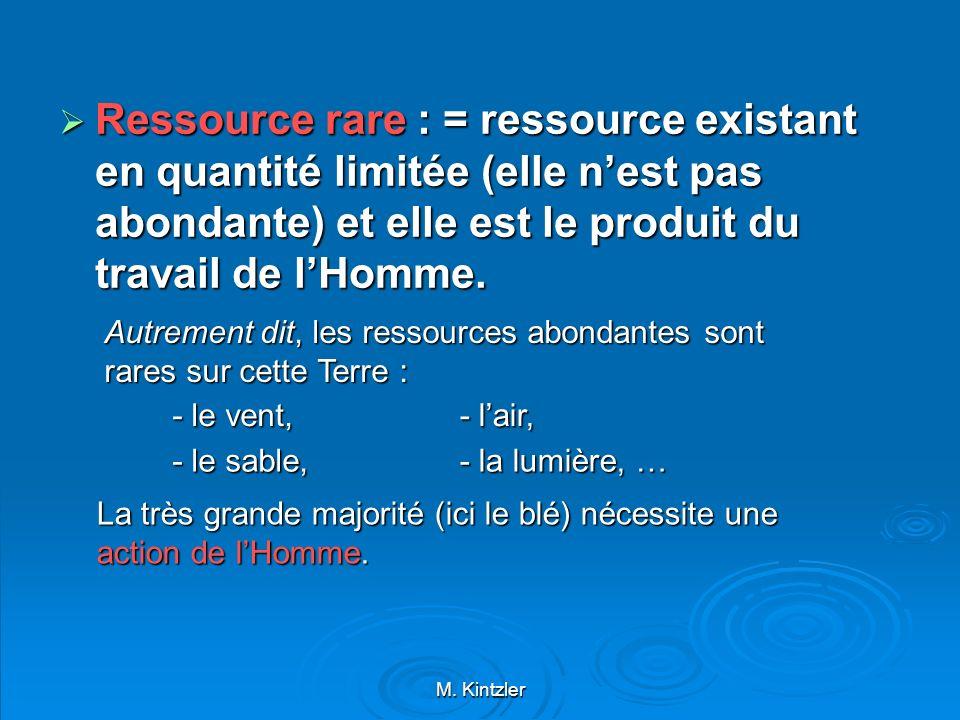 M. Kintzler Ressource rare : = ressource existant en quantité limitée (elle nest pas abondante) et elle est le produit du travail de lHomme. Ressource