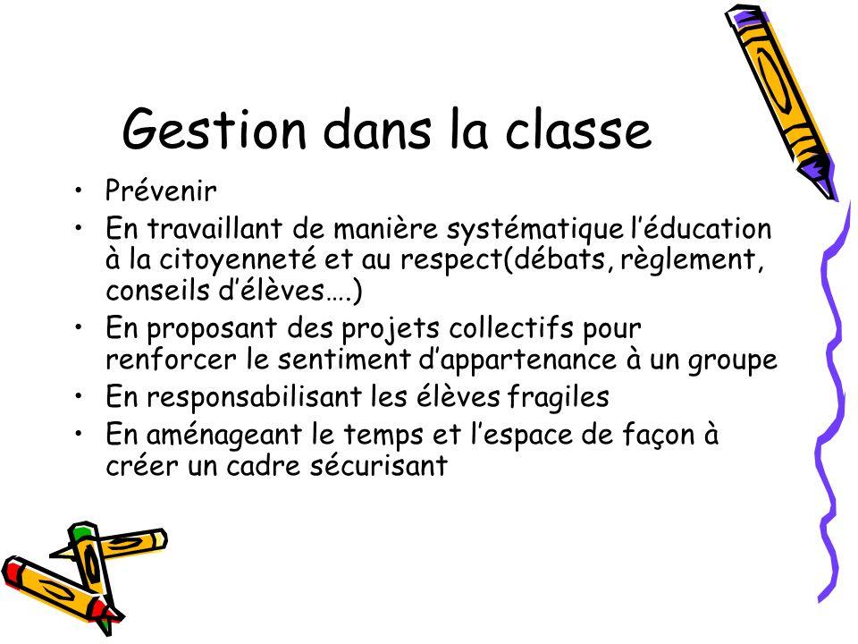 Gestion dans la classe Prévenir En travaillant de manière systématique léducation à la citoyenneté et au respect(débats, règlement, conseils délèves….