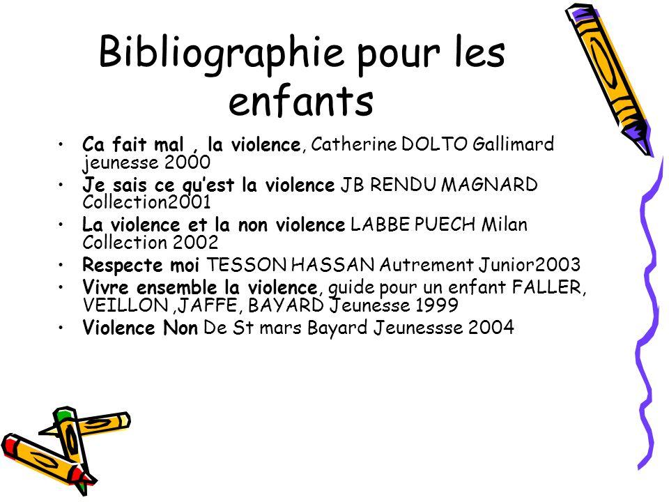 Bibliographie pour les enfants Ca fait mal, la violence, Catherine DOLTO Gallimard jeunesse 2000 Je sais ce quest la violence JB RENDU MAGNARD Collect