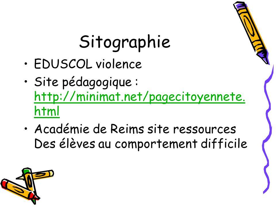 Sitographie EDUSCOL violence Site pédagogique : http://minimat.net/pagecitoyennete. html http://minimat.net/pagecitoyennete. html Académie de Reims si