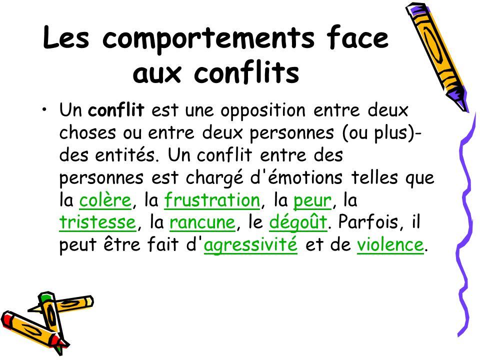 Les comportements face aux conflits Un conflit est une opposition entre deux choses ou entre deux personnes (ou plus)- des entités. Un conflit entre d