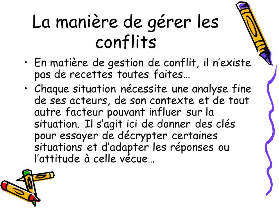 La manière de gérer les conflits En matière de gestion de conflit, il nexiste pas de recettes toutes faites… Chaque situation nécessite une analyse fi