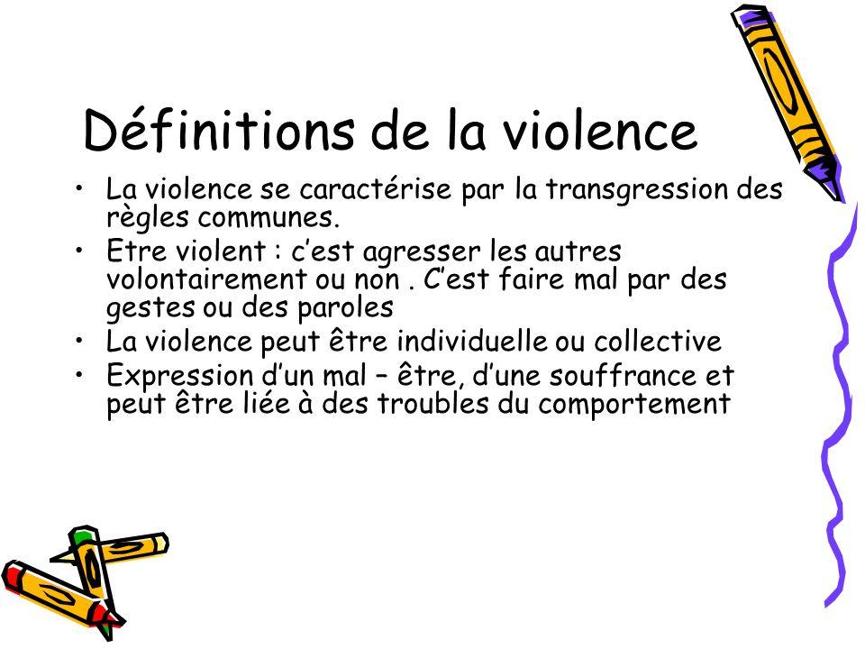 Définitions de la violence La violence se caractérise par la transgression des règles communes. Etre violent : cest agresser les autres volontairement
