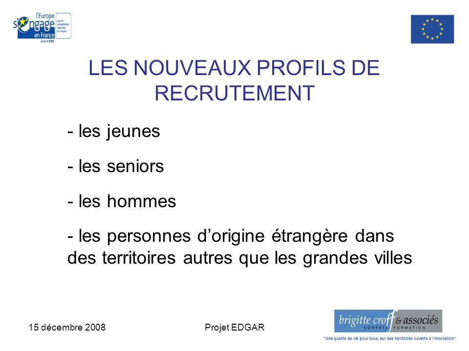 15 décembre 2008Projet EDGAR LES NOUVEAUX PROFILS DE RECRUTEMENT - les jeunes - les seniors - les hommes - les personnes dorigine étrangère dans des t