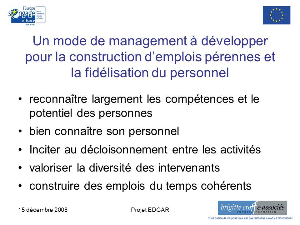 15 décembre 2008Projet EDGAR Un mode de management à développer pour la construction demplois pérennes et la fidélisation du personnel reconnaître lar