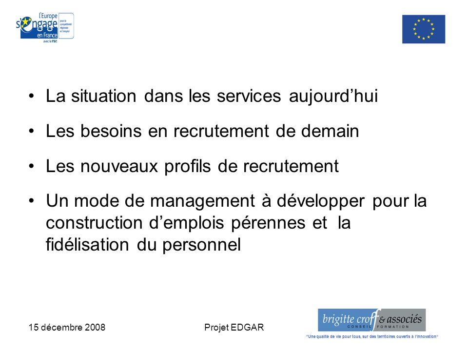 15 décembre 2008Projet EDGAR La situation dans les services aujourdhui Les besoins en recrutement de demain Les nouveaux profils de recrutement Un mod