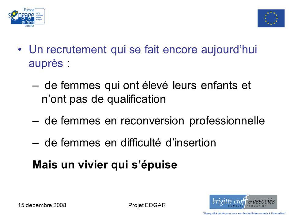 15 décembre 2008Projet EDGAR Un recrutement qui se fait encore aujourdhui auprès : – de femmes qui ont élevé leurs enfants et nont pas de qualificatio