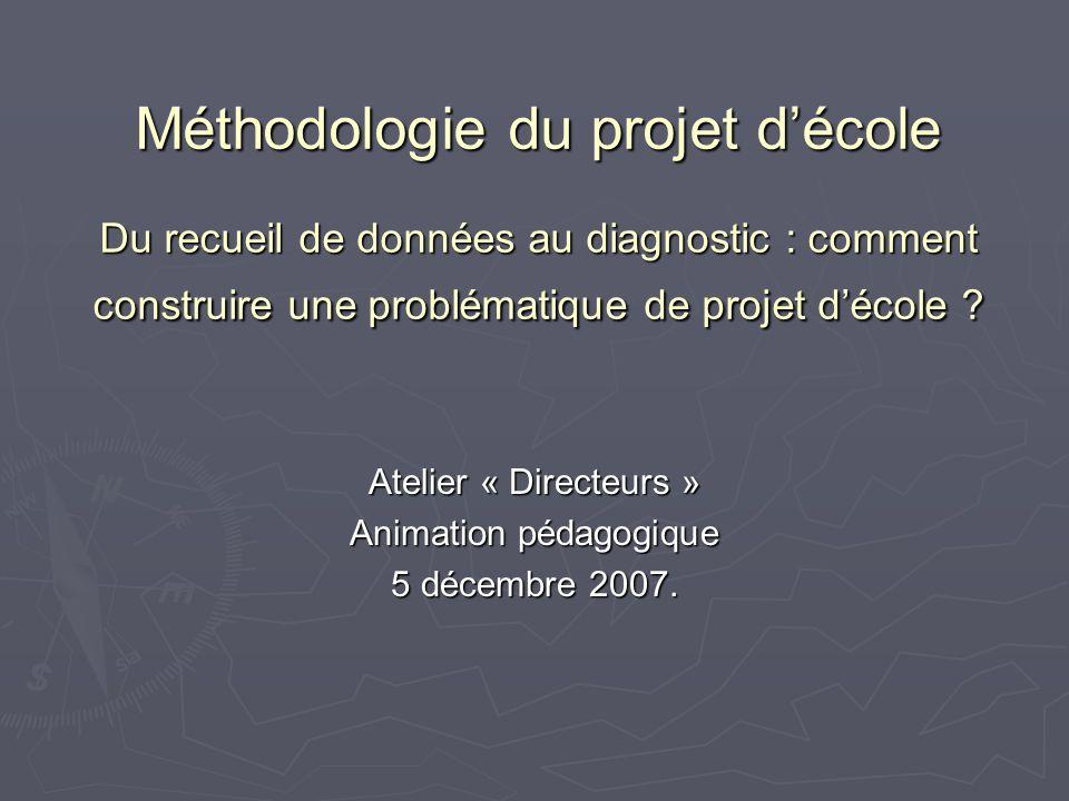 Méthodologie du projet décole Du recueil de données au diagnostic : comment construire une problématique de projet décole ? Atelier « Directeurs » Ani