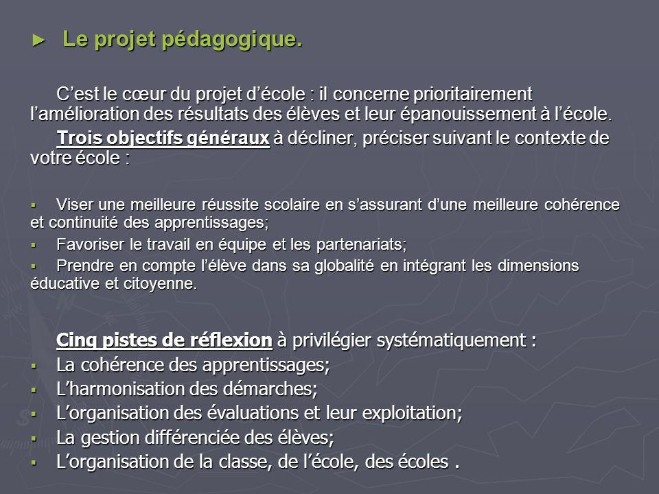 Le projet pédagogique. Le projet pédagogique. Cest le cœur du projet décole : il concerne prioritairement lamélioration des résultats des élèves et le