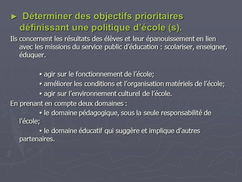 Déterminer des objectifs prioritaires définissant une politique décole (s). Déterminer des objectifs prioritaires définissant une politique décole (s)