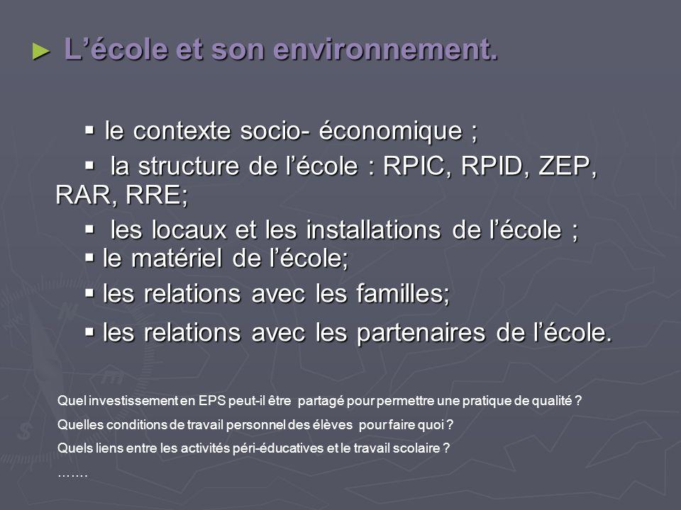 Lécole et son environnement. Lécole et son environnement. le contexte socio- économique ; le contexte socio- économique ; la structure de lécole : RPI