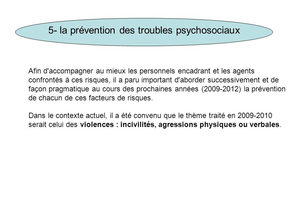 5- la prévention des troubles psychosociaux Afin d'accompagner au mieux les personnels encadrant et les agents confrontés à ces risques, il a paru imp