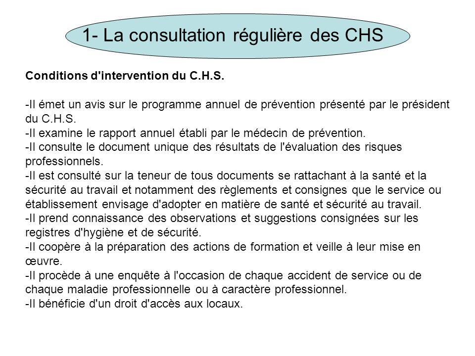 1- La consultation régulière des CHS Conditions d'intervention du C.H.S. -Il émet un avis sur le programme annuel de prévention présenté par le présid