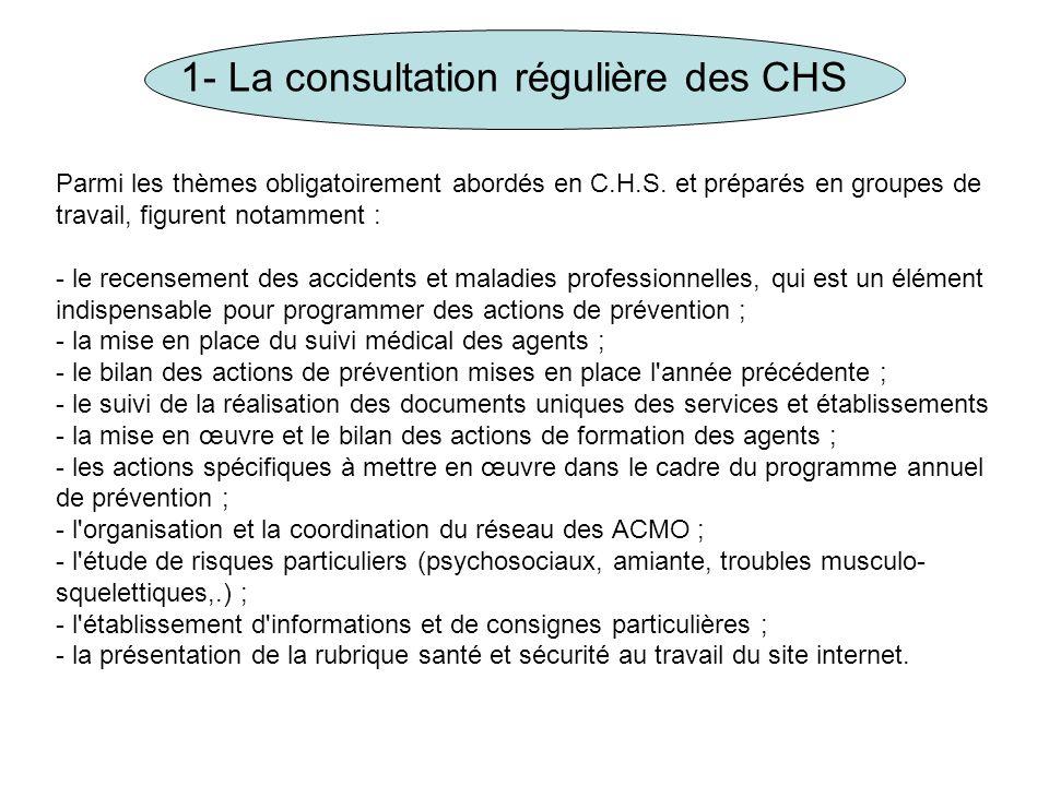 1- La consultation régulière des CHS Parmi les thèmes obligatoirement abordés en C.H.S. et préparés en groupes de travail, figurent notamment : - le r