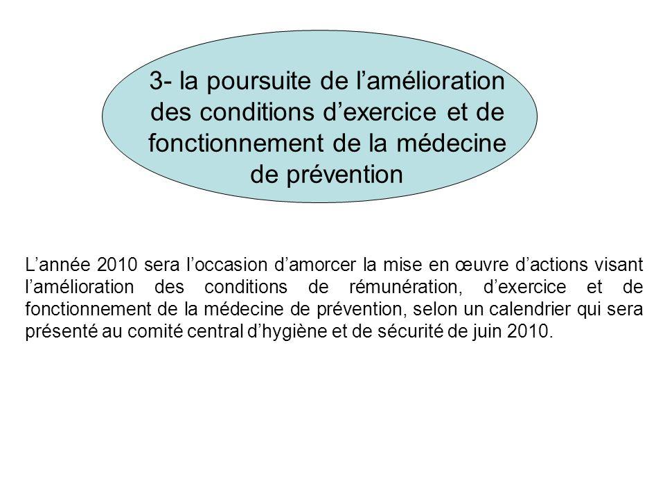 3- la poursuite de lamélioration des conditions dexercice et de fonctionnement de la médecine de prévention Lannée 2010 sera loccasion damorcer la mis