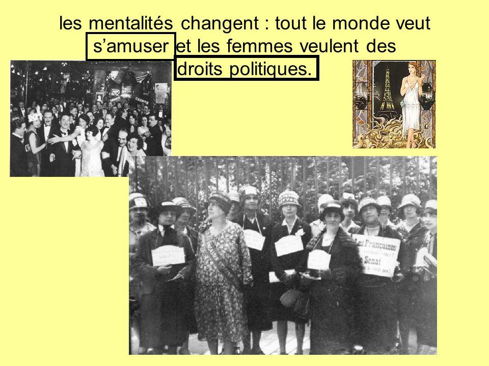 les mentalités changent : tout le monde veut samuser et les femmes veulent des droits politiques.