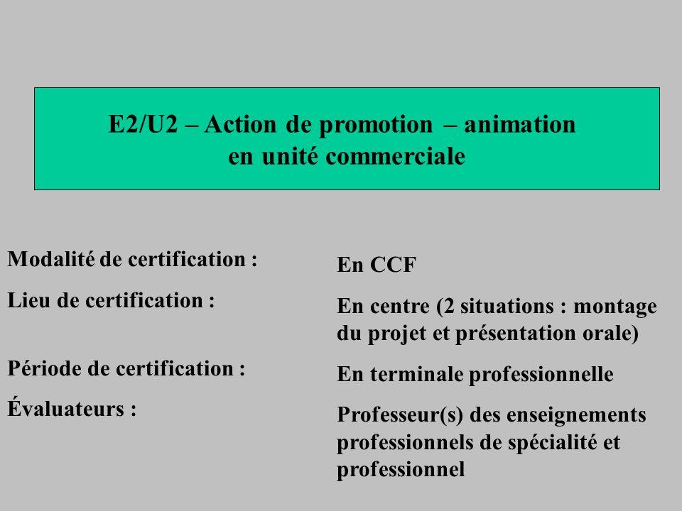 E2/U2 – Action de promotion – animation en unité commerciale Modalité de certification : Lieu de certification : Période de certification : Évaluateur