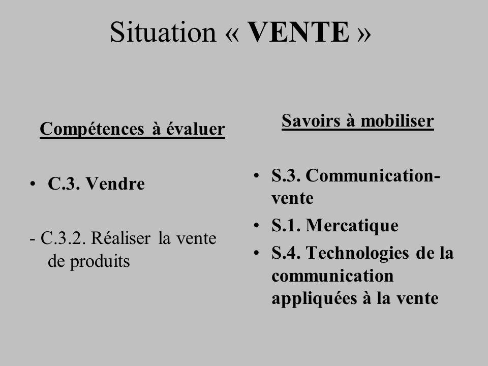 Situation « VENTE » Compétences à évaluer C.3. Vendre - C.3.2. Réaliser la vente de produits Savoirs à mobiliser S.3. Communication- vente S.1. Mercat
