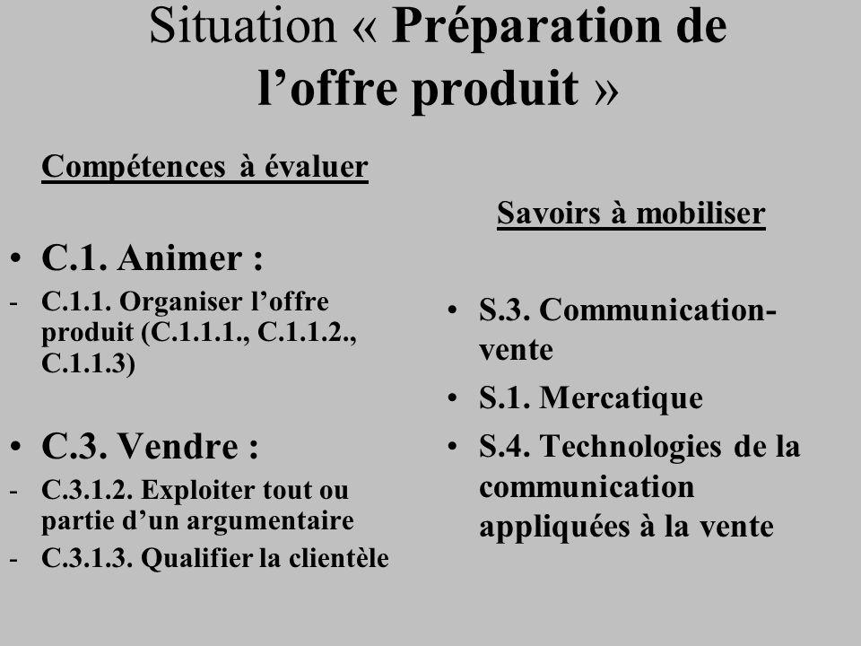 Situation « Préparation de loffre produit » Compétences à évaluer C.1. Animer : -C.1.1. Organiser loffre produit (C.1.1.1., C.1.1.2., C.1.1.3) C.3. Ve