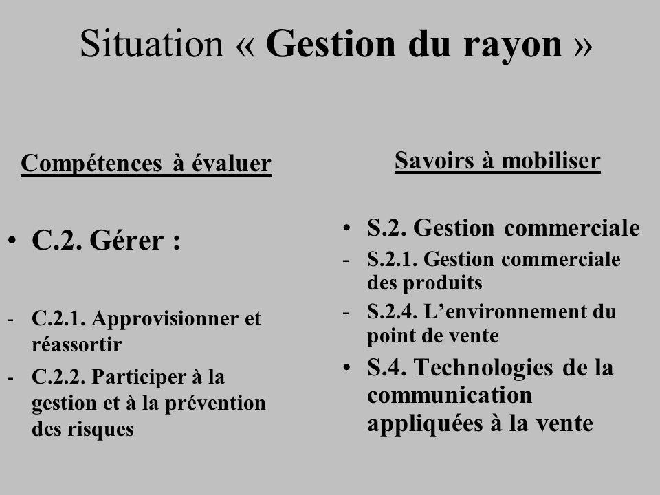 Situation « Gestion du rayon » Compétences à évaluer C.2. Gérer : -C.2.1. Approvisionner et réassortir -C.2.2. Participer à la gestion et à la prévent