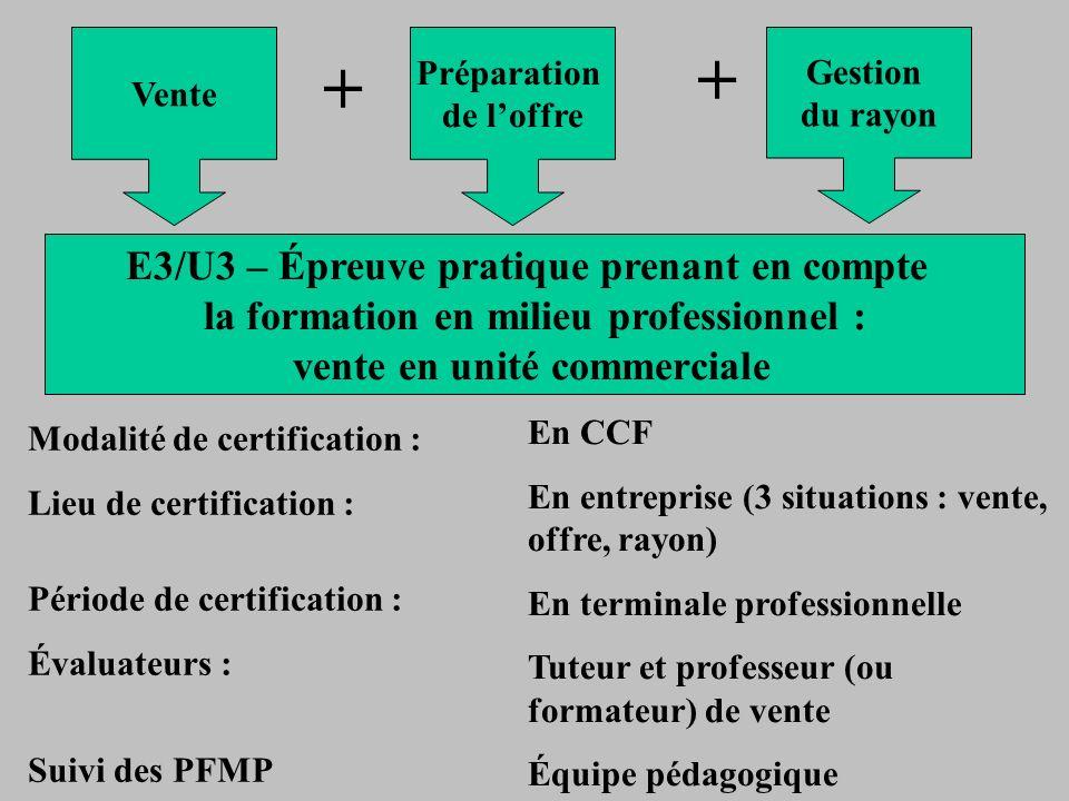 Vente + Préparation de loffre + Gestion du rayon E3/U3 – Épreuve pratique prenant en compte la formation en milieu professionnel : vente en unité comm