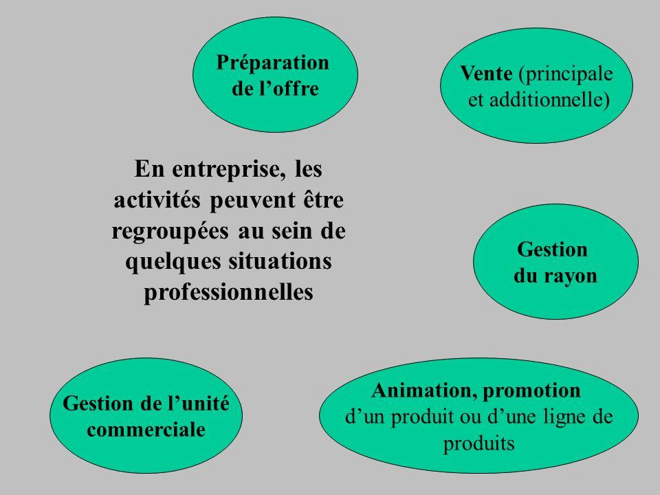 En entreprise, les activités peuvent être regroupées au sein de quelques situations professionnelles Préparation de loffre Vente (principale et additi