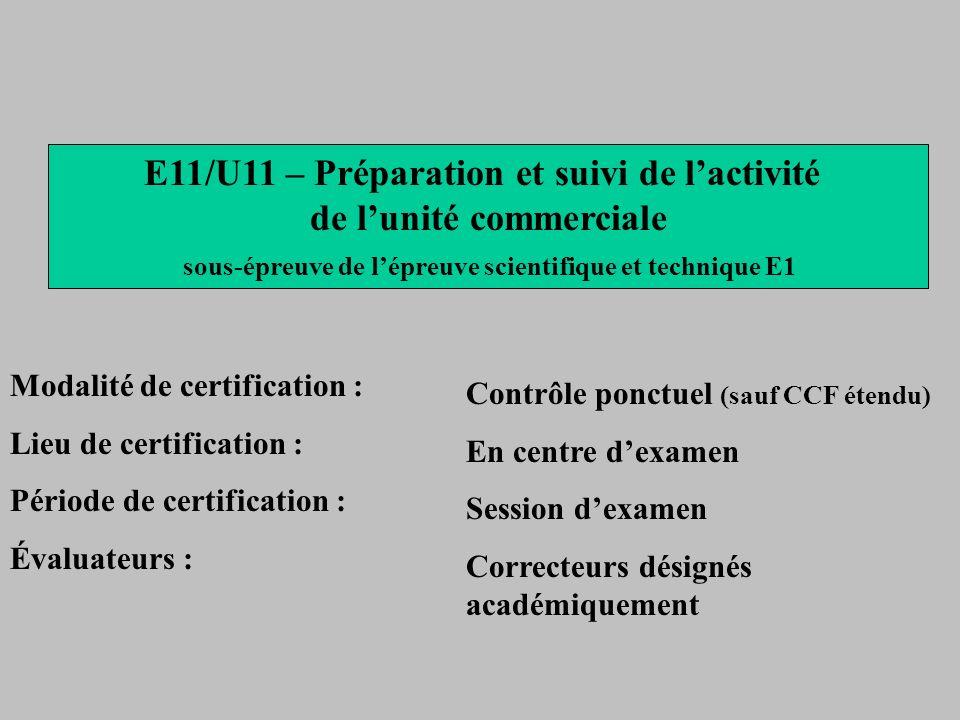 E11/U11 – Préparation et suivi de lactivité de lunité commerciale sous-épreuve de lépreuve scientifique et technique E1 Modalité de certification : Li