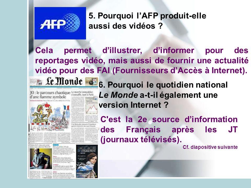 5. Pourquoi lAFP produit-elle aussi des vidéos ? 6. Pourquoi le quotidien national Le Monde a-t-il également une version Internet ? Cela permet dillus