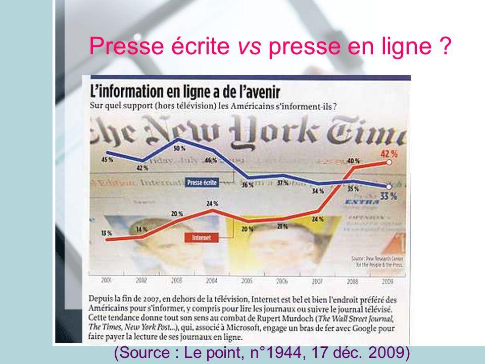 Presse écrite vs presse en ligne ? (Source : Le point, n°1944, 17 déc. 2009)