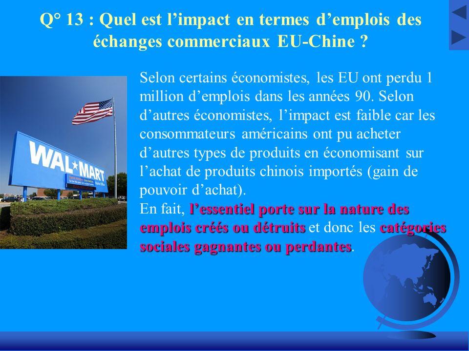 Q° 13 : Quel est limpact en termes demplois des échanges commerciaux EU-Chine ? Selon certains économistes, les EU ont perdu 1 million demplois dans l