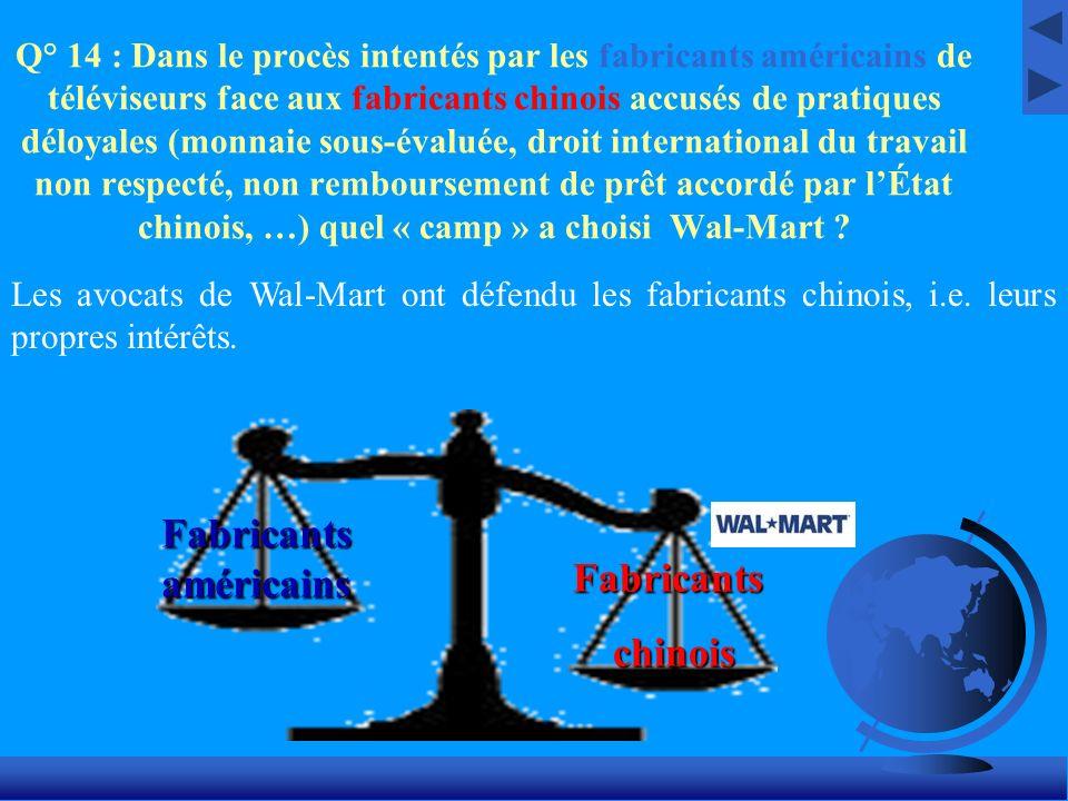 Q° 14 : Dans le procès intentés par les fabricants américains de téléviseurs face aux fabricants chinois accusés de pratiques déloyales (monnaie sous-