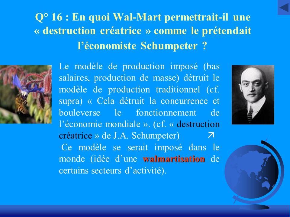 Q° 16 : En quoi Wal-Mart permettrait-il une « destruction créatrice » comme le prétendait léconomiste Schumpeter ? Le modèle de production imposé (bas
