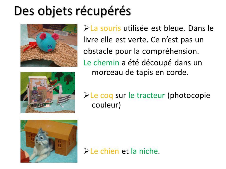 Des objets récupérés La souris utilisée est bleue.