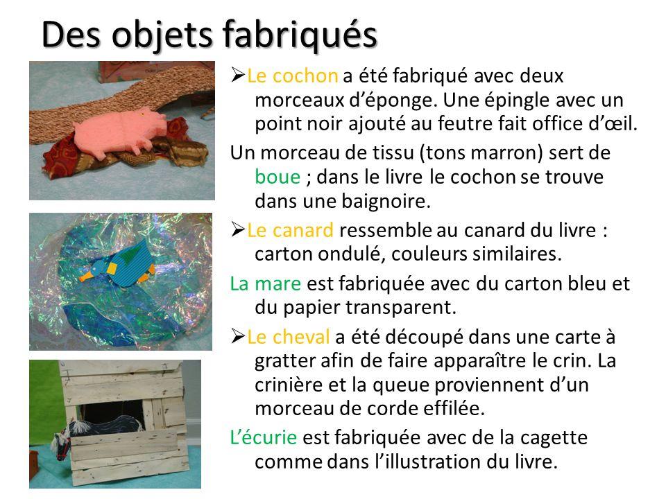 Des objets fabriqués Le cochon a été fabriqué avec deux morceaux déponge.