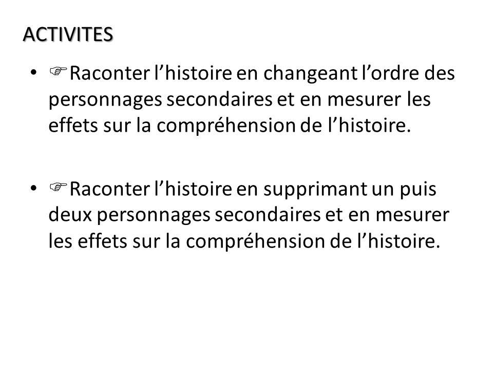 Raconter lhistoire en changeant lordre des personnages secondaires et en mesurer les effets sur la compréhension de lhistoire.