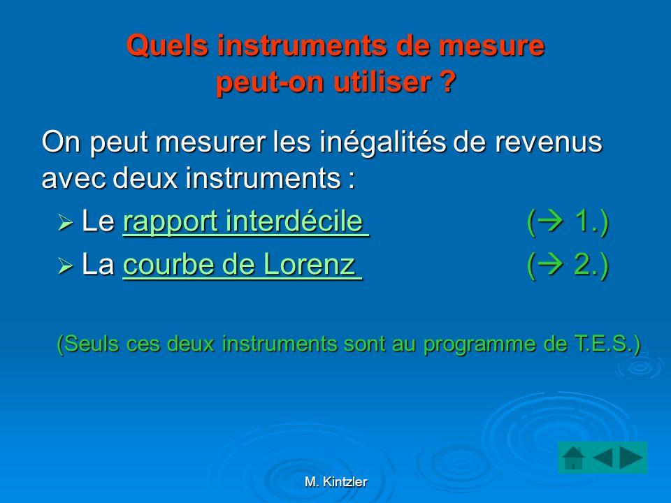 M. Kintzler Quels instruments de mesure peut-on utiliser ? On peut mesurer les inégalités de revenus avec deux instruments : Le rapport interdécile (