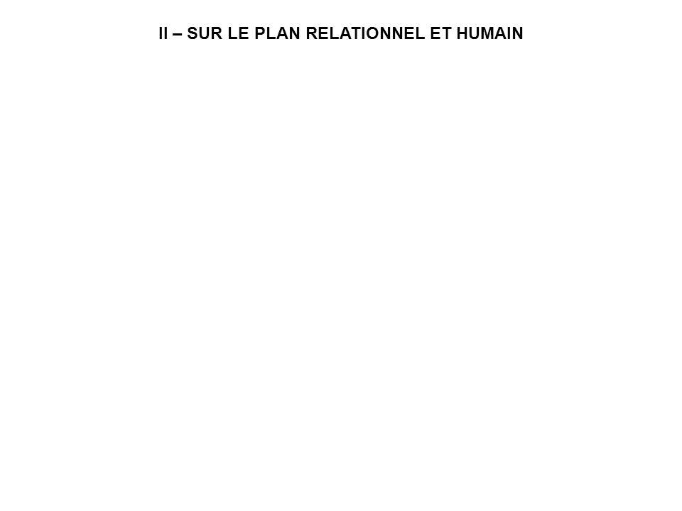 II – SUR LE PLAN RELATIONNEL ET HUMAIN