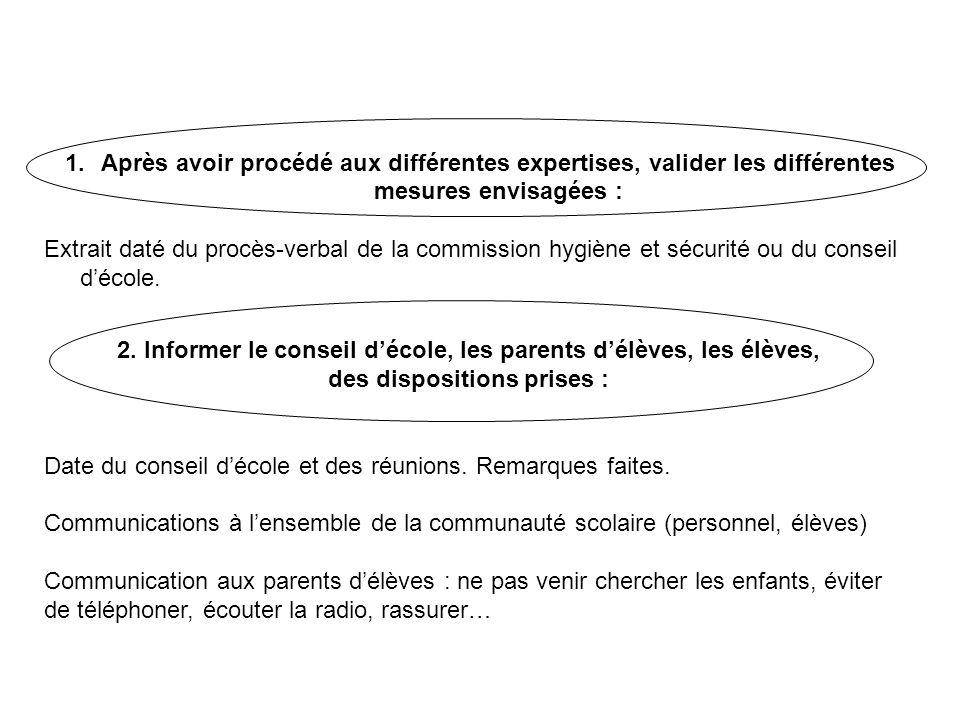 1.Après avoir procédé aux différentes expertises, valider les différentes mesures envisagées : Extrait daté du procès-verbal de la commission hygiène