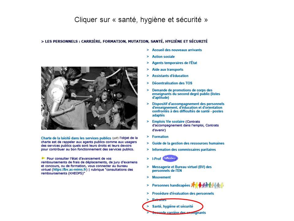 Cliquer sur « santé, hygiène et sécurité »