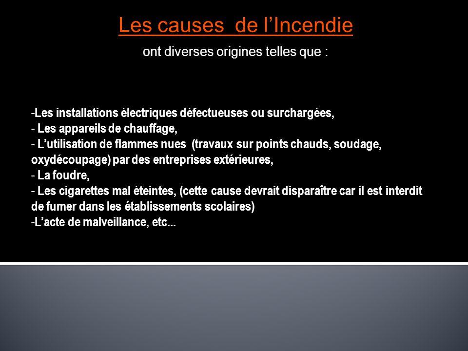 Les causes de lIncendie ont diverses origines telles que : - Les installations électriques défectueuses ou surchargées, - Les appareils de chauffage,