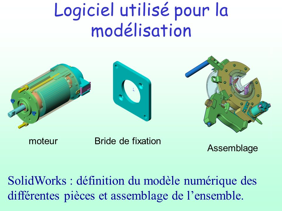 Logiciel utilisé pour la modélisation SolidWorks : définition du modèle numérique des différentes pièces et assemblage de lensemble.