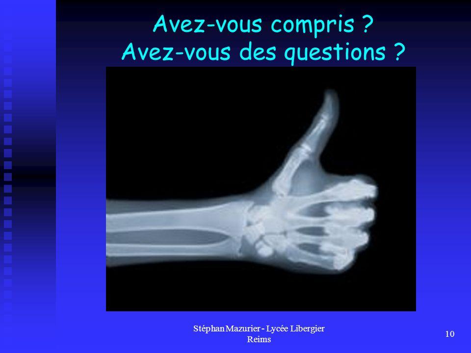 Stéphan Mazurier - Lycée Libergier Reims 10 Avez-vous compris ? Avez-vous des questions ?