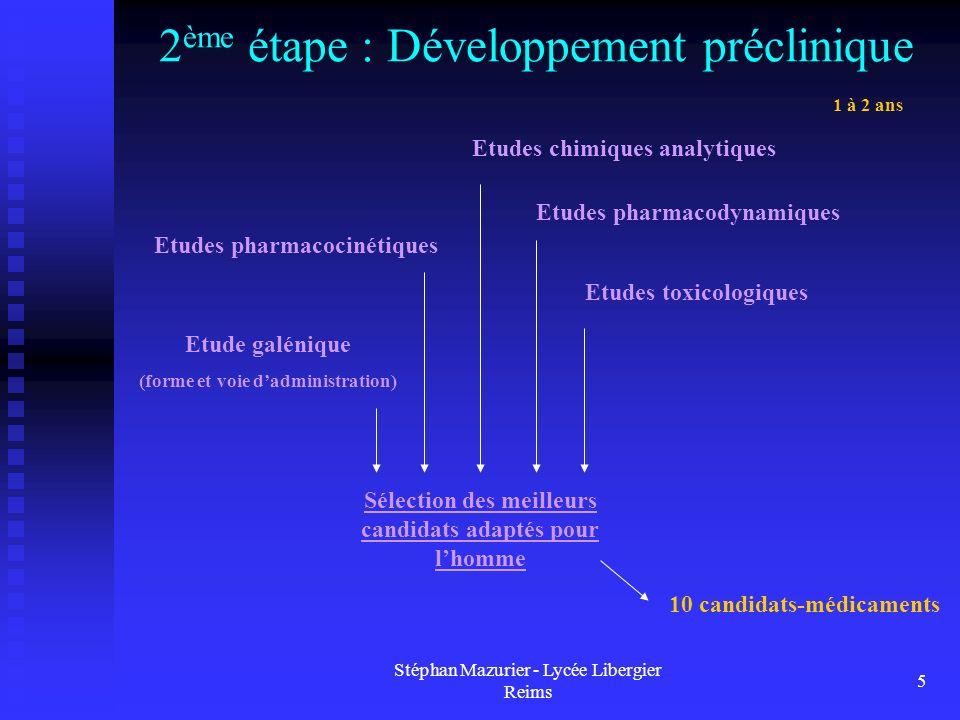 Stéphan Mazurier - Lycée Libergier Reims 5 2 ème étape : Développement préclinique 10 candidats-médicaments 1 à 2 ans Etudes chimiques analytiques Etu