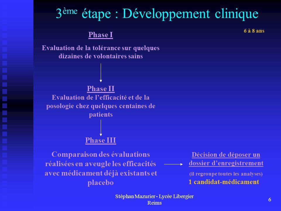 Stéphan Mazurier - Lycée Libergier Reims 6 3 ème étape : Développement clinique 1 candidat-médicament 6 à 8 ans Phase I Evaluation de la tolérance sur