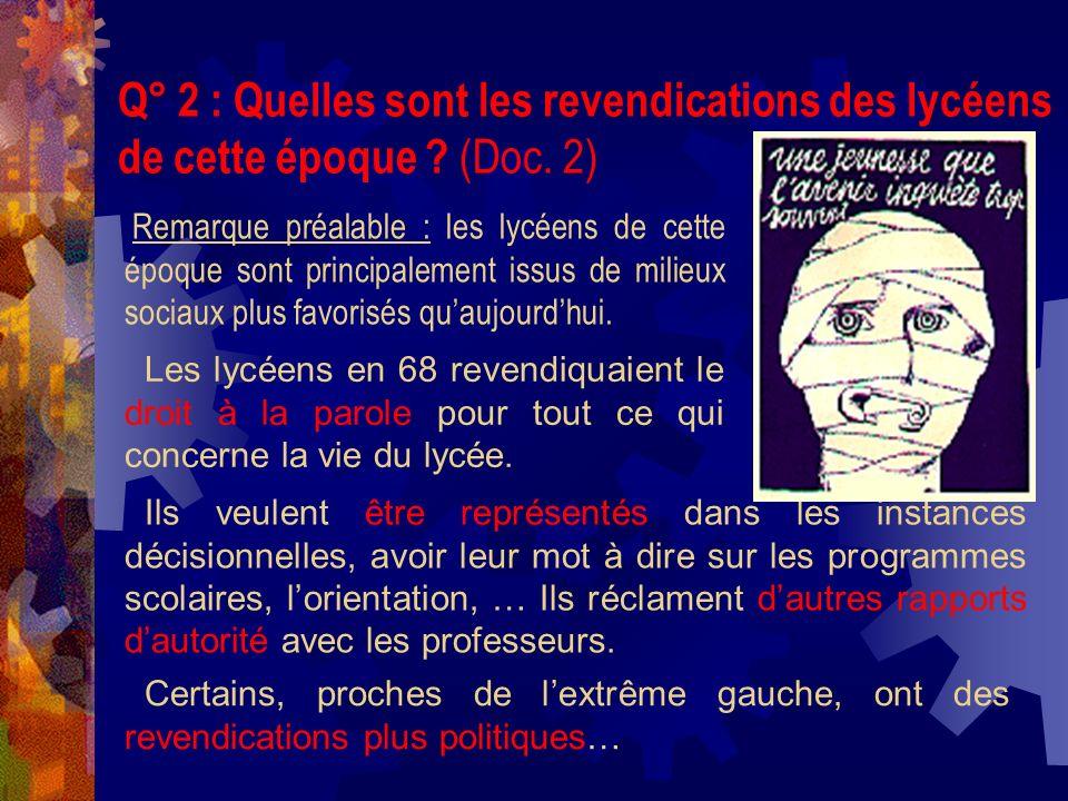 Q° 2 : Quelles sont les revendications des lycéens de cette époque ? (Doc. 2) Ils veulent être représentés dans les instances décisionnelles, avoir le
