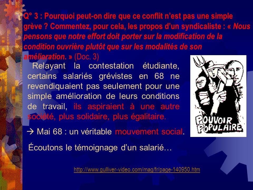 Q° 4 : Quelles relations peut-on esquisser entre le mouvement social de mai 68 et les NMS .
