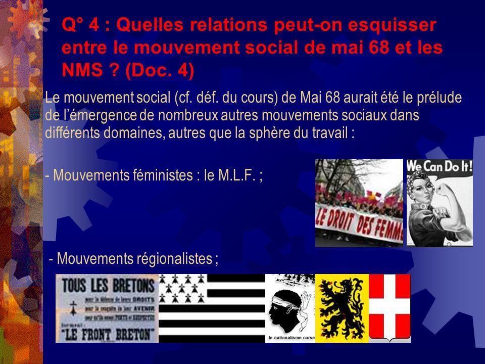 Q° 4 : Quelles relations peut-on esquisser entre le mouvement social de mai 68 et les NMS ? (Doc. 4) Le mouvement social (cf. déf. du cours) de Mai 68
