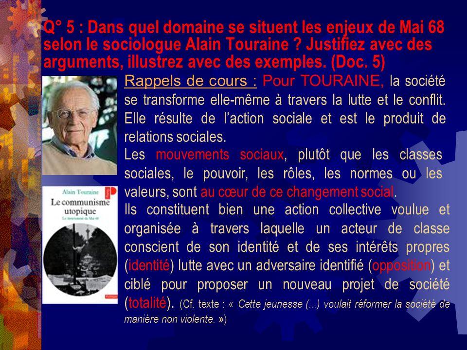 Q° 5 : Dans quel domaine se situent les enjeux de Mai 68 selon le sociologue Alain Touraine ? Justifiez avec des arguments, illustrez avec des exemple