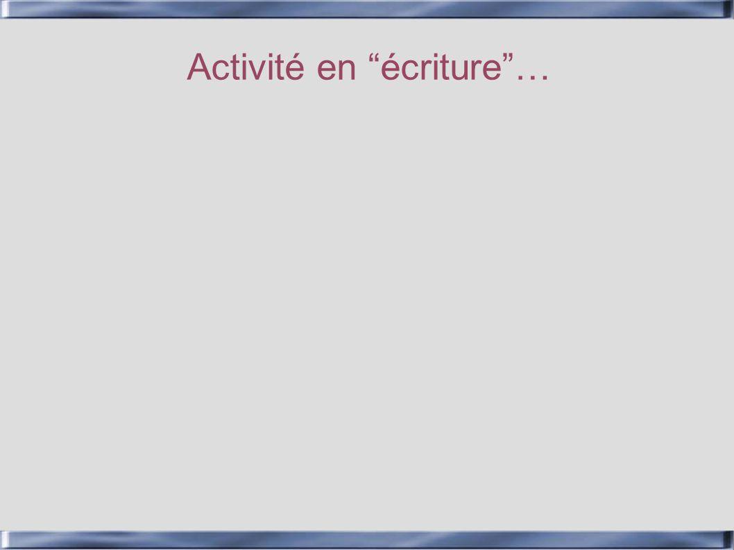 Activité en écriture…
